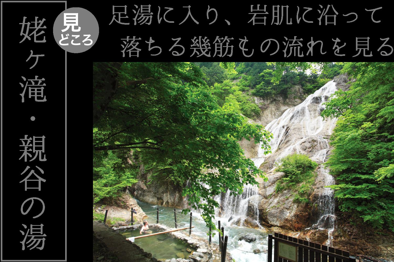 白山白川郷ホワイトロード姥ヶ滝・親谷の湯/足湯に入り、岩肌に沿って落ちる滝の流れを見る